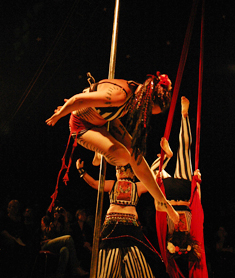 Auftritt Pole Dance, Ringakrobatik, Vertikaltuch - SEPIATONIC in concert / Lady Kitty´ s Hell´s Belles